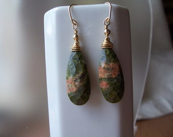 "Unakite earrings faceted briolette 26mm 14k gold filled 1.75"" total MLMR item 495"