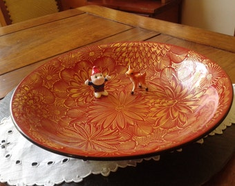 vintage Japanese lacquer bowl signed Kansaku Japan red & gold floral decorative bowl asian zen decor unique Halloween care package gift