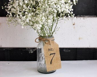 Table Number / Burlap Table Number / Rustic Table Number / Burlap Table Tag / Wedding Centerpiece / Burlap Table Numbers