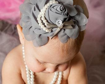 Baby headband, newborn headband, Silver Grey Chiffon Rosette headband, baby girls headband, Grey headband, Newborn photo Props