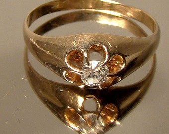 Victorian 14K Gold Rose Cut DIAMOND Solitaire RING 1890-1900 14 K Antique Size 7-1/2