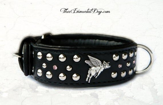 When Pigs fly is a 2'' custom collar adorned with pig conchos and Pink gemstones with Spots padded and lined for comfort.