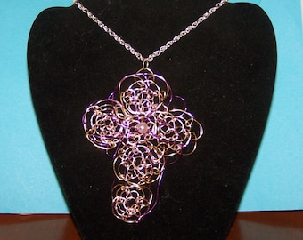 Wire Weaving Handmade Wire Purple and Silver Wire Pearl Cross Necklace Wire Wrapped Great Graduation Gift
