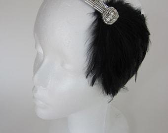 Vintage flapper dress headband 20s dress Headband Headdress Art Deco Swarovski crystal beading with Black Feather Fascinator