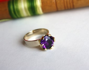 Gold Amethyst ring, Amethyst ring Gold, 14k White Gold ring, 14k Solid Gold ring, Gold ring for woman, Royal ring