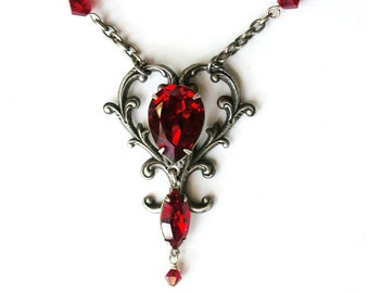 Red Victorian Gothic Necklace Red Swarovski Crystal Necklace Silver Victorian Heart Necklace Red Crystal Necklace for Her Red Gothic Jewelry