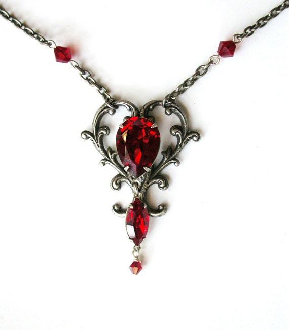 Red Victorian Gothic Necklace Red Swarovski Crystal Necklace Silver Victorian Heart Necklace Red Crystal Necklace for Her Red Gothic Jewelry