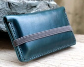 iPhone4/ Full option teal leather iphone wallet with elastic