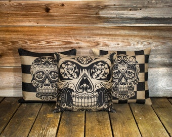 Skull Pillow Covers (3) Day of the Dead, Sugar Skull Throw Pillow, Día de los Muertos Cushion, Decorative 16""