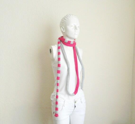 Pippi's Pink Grey Skinny Scarf, Unisex, Mens, Womens, Neckwarmer,HandKnit, Extra Long, Spring, Summer, Fall, Autumn Fashion, Stripe