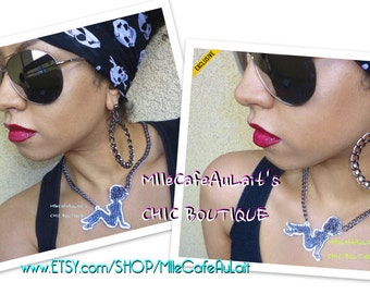 EXCLUSIVE Glitter Mirror Laser Cut Curly Afro MudflapGirl,  Chain Link Necklace - GLITTER GALS Necklace