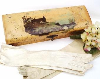 Antique Glove Box / Leather Gloves / Victorian Gift Box, Decorative Storage Box, Landscape Litho