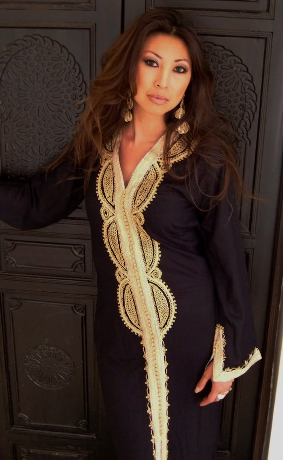 Black Moroccan Caftan Kaftan -Lella- Kaftan, Caftan, loungewear,resortwear,spa robe,beach cover up, Birthdays or Maternity Gifts
