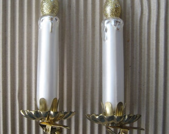 2 Vintage Christmas Ornament Glass Clipping Candles  #4