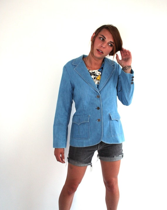 vintage 70's light blue denim blazer / women's medium