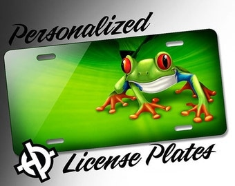 Personalized License Plate -AT1150- Custom License Plate Airbrush License Plate Monogram - Tree Frog License Plate