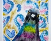 Original Monoprint - bird and pattern with watercolor