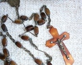 Vintage French Rosary Crucifix Madonna Lourdes Cross Brown glass Beads