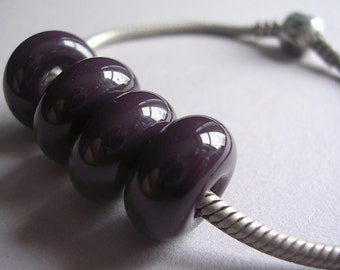 Lampwork Beads Purple Handmade Glass Ericabeads Dark Eggplant BHB European Charm Beads (4)