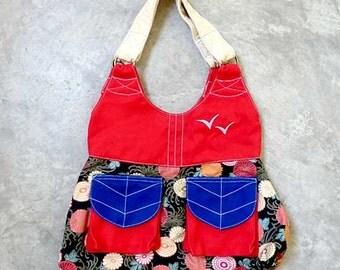 Handbag on SALE, Kimono fabric tote bag, Red fabric tote bag, Ladies Handbag with pockets, Fabric Shoulder Bag - Ebony Japanese Blooms