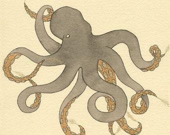 Inking -octopus print