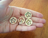 Stitched Star Wood Buttons - wood with stitched star design in various colors, 25mm, light, great for knitwear