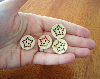 Stitched Star Wood Buttons - set of four with stitched star design in various colors, 20mm, light, great for knitwear
