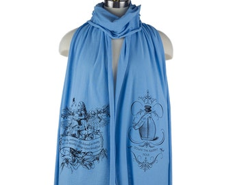 Alice Flamingo Croquet Wonderland Screen printed Cotton Scarf