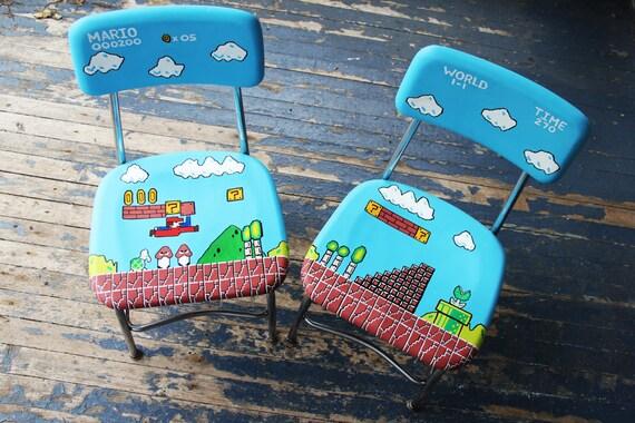 Mario Handpainted Chair Set Pair Video Geekery Nintendo Arcade