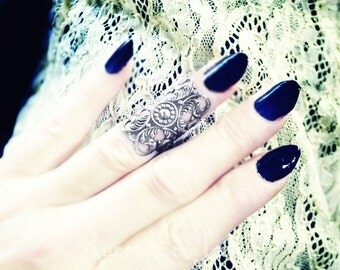 Knuckle Ring Midi Ring Gothic Filigree Silver Tone