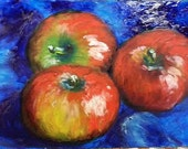 apple still life original oil painting