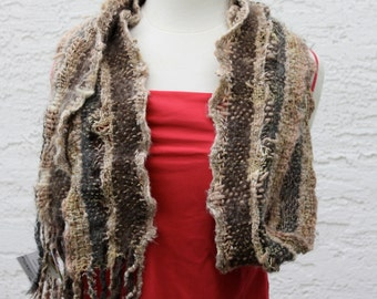 Flicker BG04, an Everyday Scarf in beige based on the colours of the yellow tailed Flicker