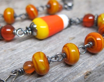 Candy Corn bracelet ... lampwork artisan glass beads with sterling silver