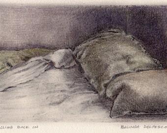 Rumpled Sheets Bed Art Origonal Monotype Print Belinda DelPesco