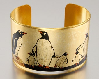 5th Avenue Penguins Subway Mosaic, Photo Cuff, Brass Cuff Bracelet, Altered Art Jewelry, PANEL 1 - Sealed in Resin - Free USA Shipping