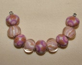 Purple, Adobe & Pink - ready to ship handmade lampwork beads by K. Urato SRA