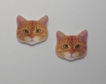 Handcrafted Plastic Orange Tabby Cat Head Stud Earrings