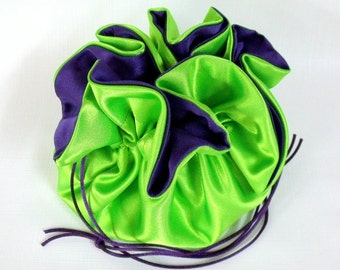 Wedding Bag  Satin Bridal Money Purse  Lime Green with Royal Purple  Lining  No Pockets