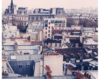 Paris Photography - Paris Rooftops Photograph - French Photography - Paris Skyline - Fine  Art Photograph - Paris Art  - Blue - Pink - Bock
