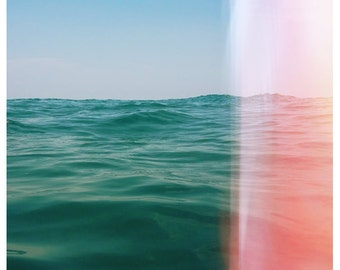 Nature Photography - Beach Photograph - Michigan - Great Lakes - Fine Art - Whisper of Waves - Pink - Blue - Bock - Landscape - Oversized