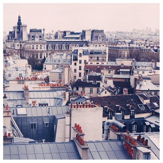 Paris Photography - Paris Rooftops Photograph - French Photography - Paris Skyline - Fine  Art Photograph - Paris Art  - Blue - Pink - Bock