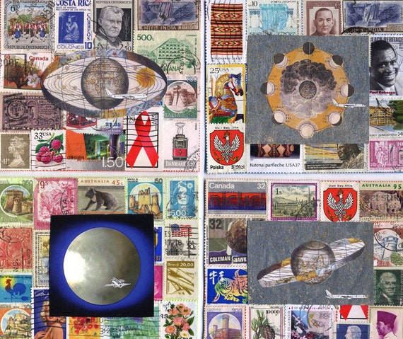 AIR MAIL note cards..4 greeting cards with vintage  and unusual stamps
