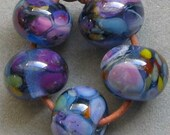 Crocus Blooms 5 Lampwork Spacer Handmade frit Glass Beads Blue Purple Lilac