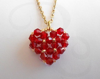 Crystal Heart Pendant - Beaded Pendant - Double Sided - Red on one side - Pink on the other side - Ready To Ship