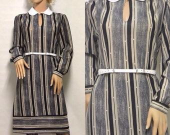 Striped Peter Pan Collar Shift Dress by Lady Page Susan Page   1970s Vintage Secretary's Dress   Size 10