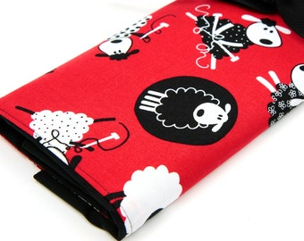 Large Knitting Needle Case - Red Sheep - multi 30 black pockets for straights, circulars and double points