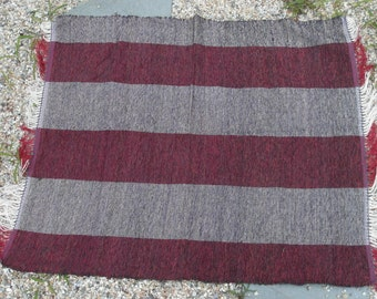 hand woven yarn rug with fringe - striped red and white - blue - plum - handwoven rug - yarn rug