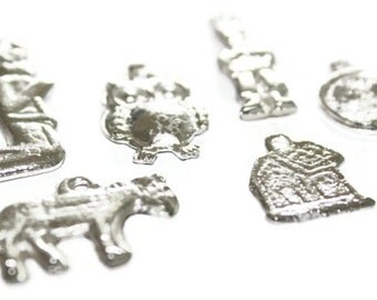 Mexican Milagros Charms Silvertone Jewelry Altars Shrines - Set of 6