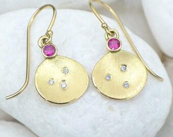 Diamond & Ruby Earrings in 18k Gold - Handmade Flower Petal Design