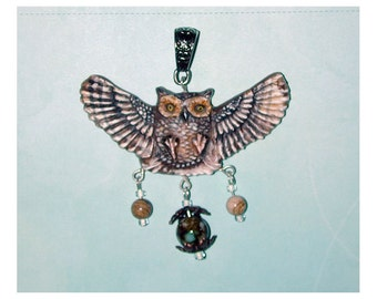 Great Horned Owl In Flight Handmade Pendant s